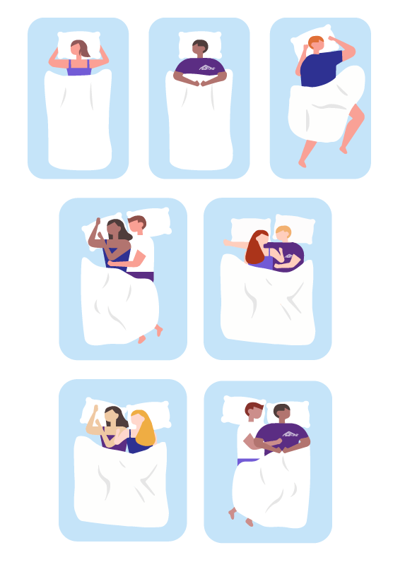 First line of image shows 3 different people in their beds. 1st person is sleeping on her stomach, 2nd and 3rd lines show couples in various sleep positions in bed.