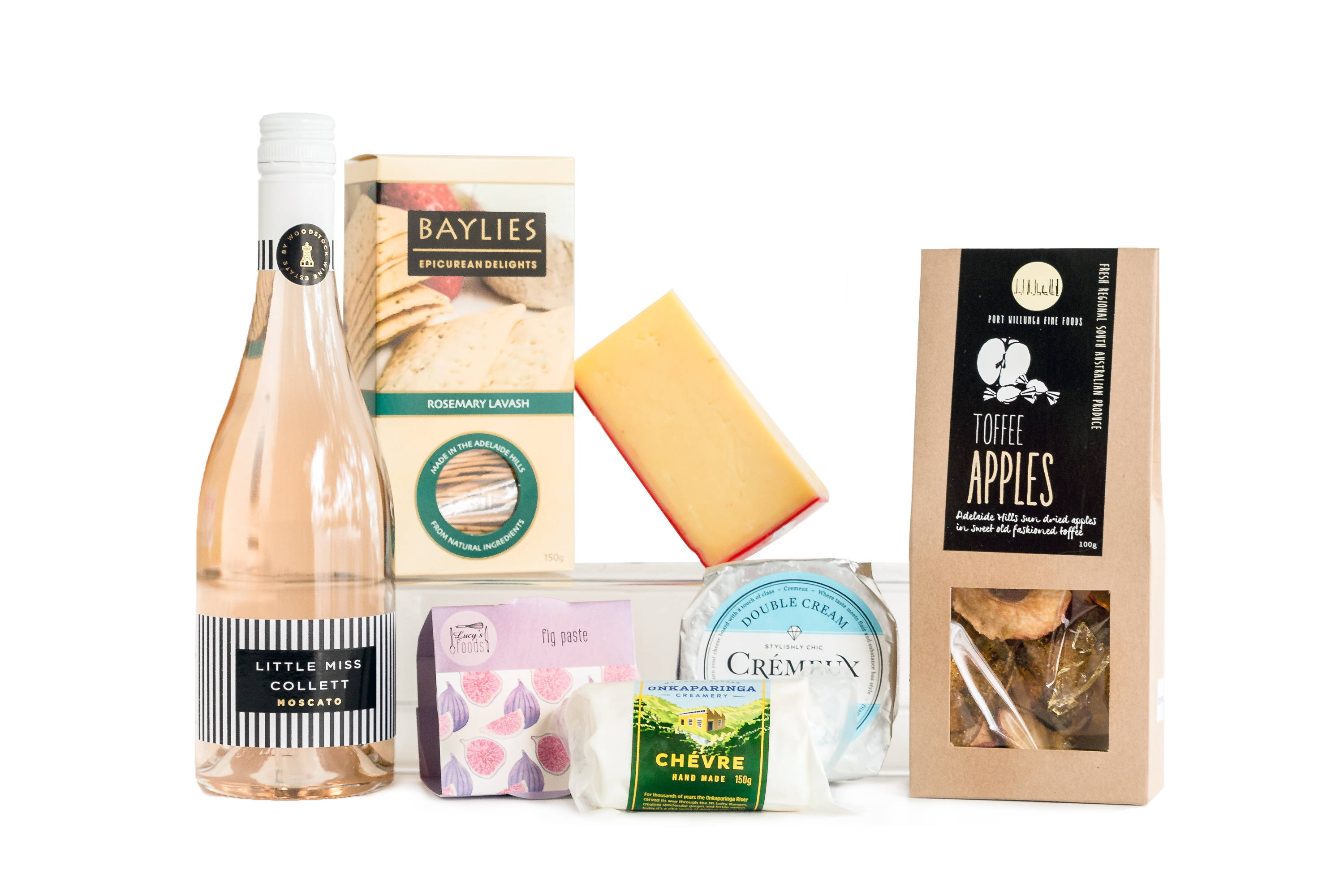 Sweet selection cheese and wine hamper