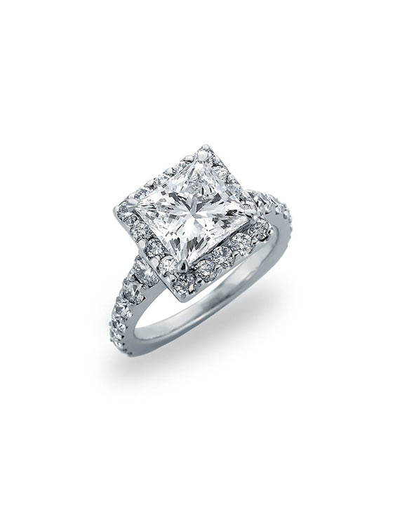 Image of square diamond engagement ring Chicago