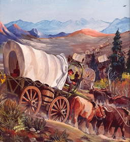 Covered Wagons painting of the Oregon Trail by Gary Stone
