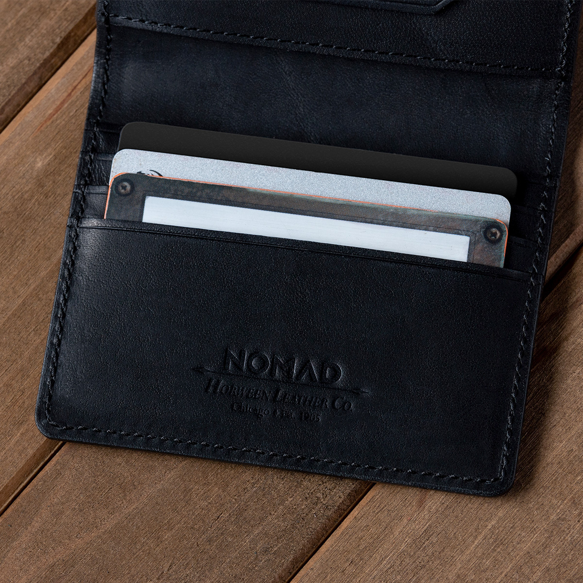 close up of Nomad Tile Wallet emphasizing Horween Leather