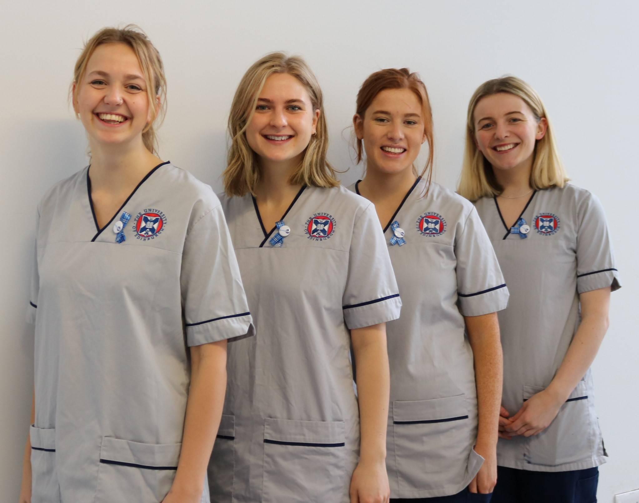 Nurses in Scotland wearing The Nursing Tartan