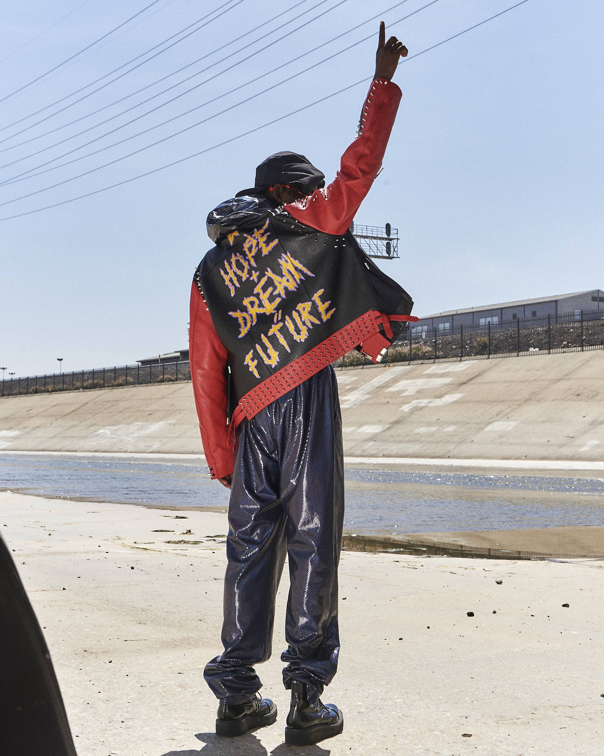 99%IS Studded Leather Printed Jacket & Joggers HLNR Hlorenzo