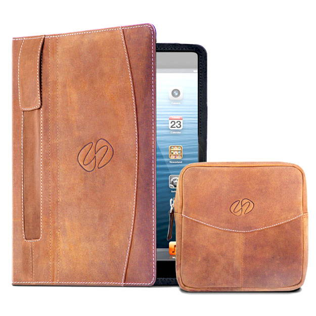 brown leather ipad pro 9.7 case and accessory pouch