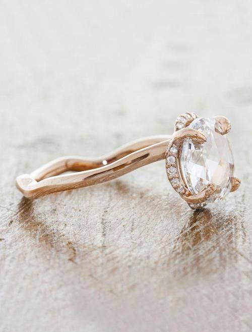 rose cut diamond ring with curved band