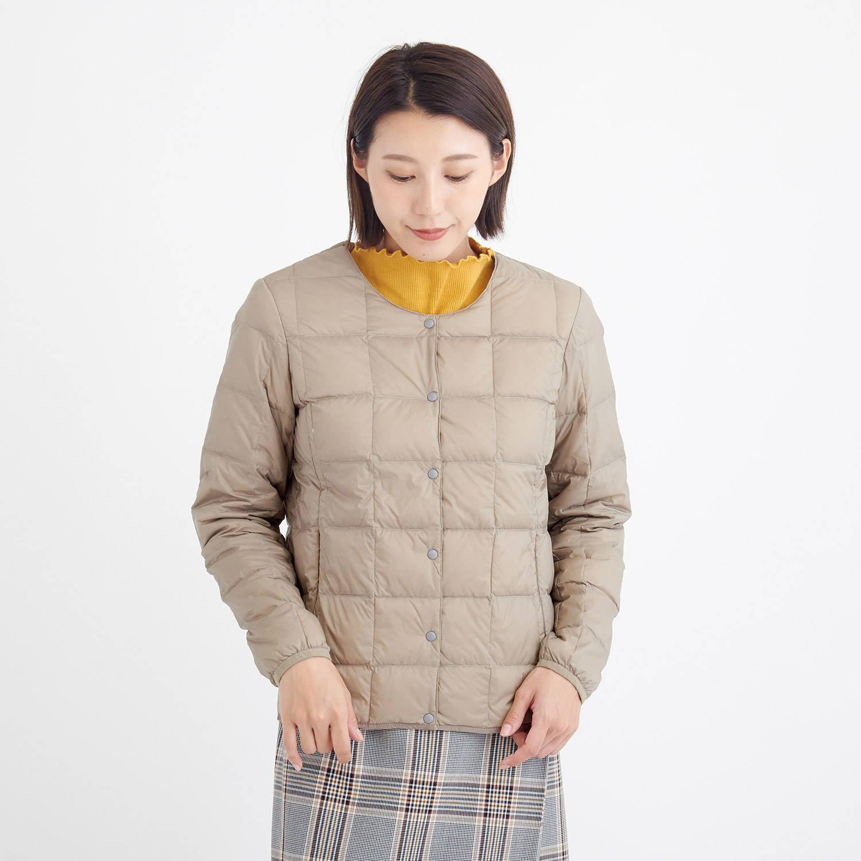 TAION(タイオン)/クルーネックボタンダウンジャケット/ベージュ/WOMENS
