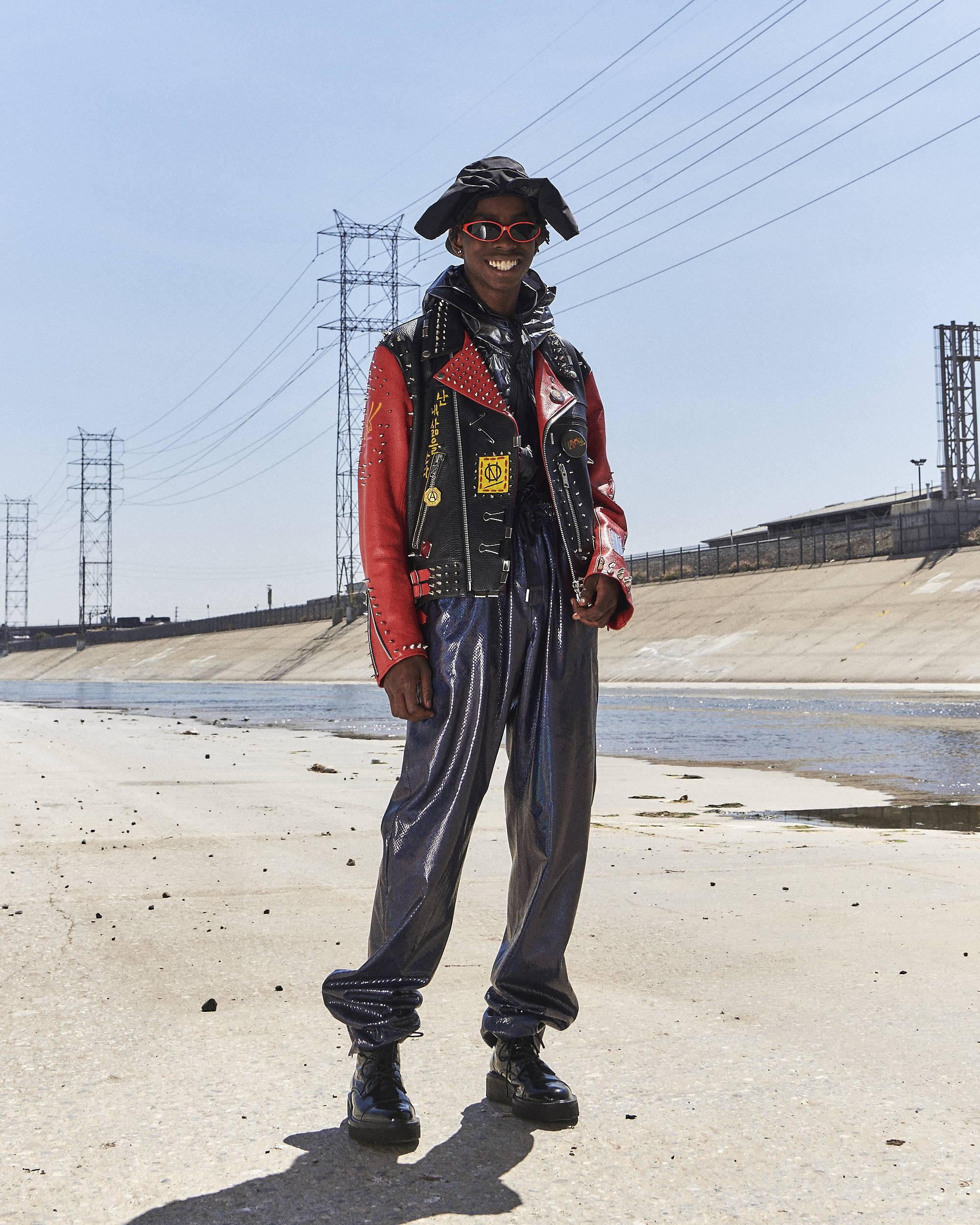 99%IS Studded Leather Printed Jacket HLNR Hlorenzo