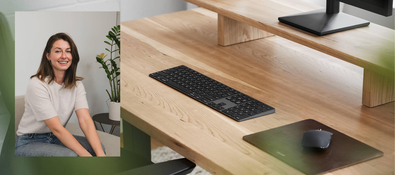 Cherrywood Solid Wood Sway Standing Desk with Desk Shelf