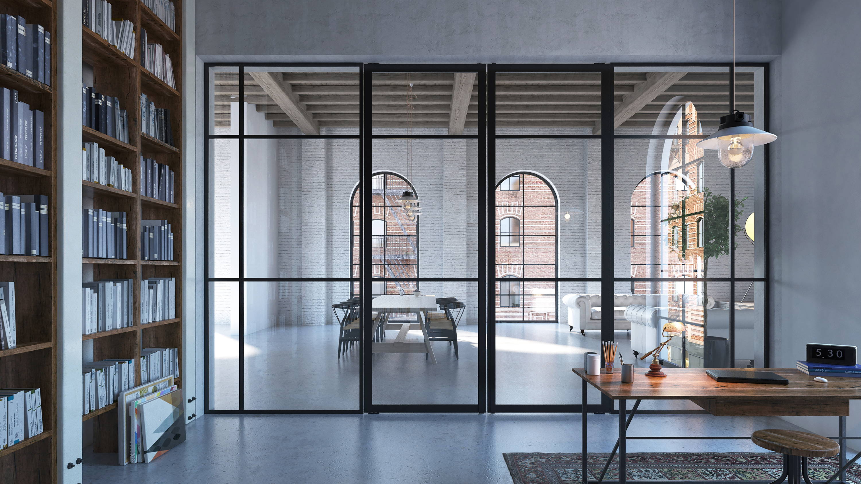 Double crittall style pivot doors with fixed partitions alongside