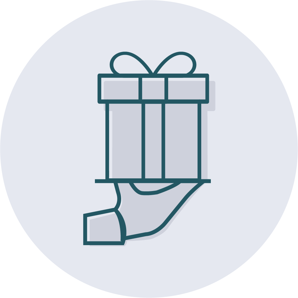 An icon of hand-wrapped packaging for a business gift.