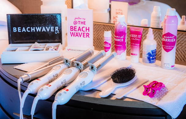 Beachwaver's innovative hair styling products in the Styling Suite at the Beachwaver Maui Pro Women's Surf Championships