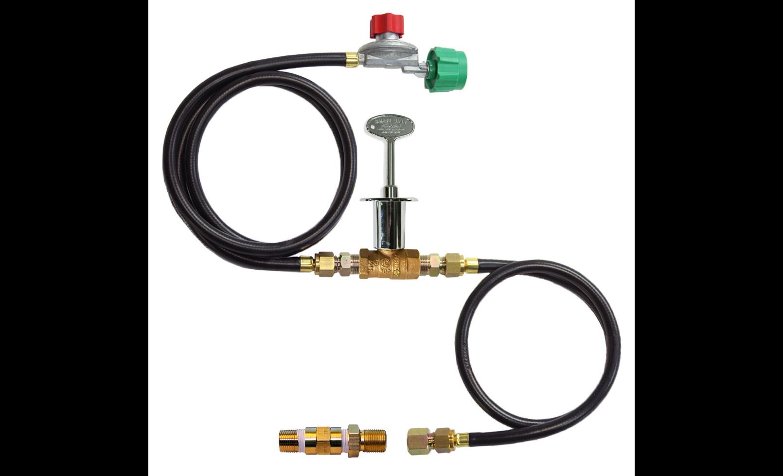 A gas connection kit setup