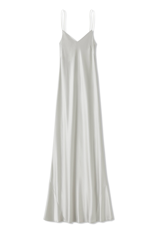 Galvan London V - Neck satin Slip dress in platinum