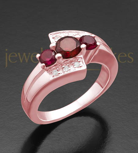 Ladies 14K Rose Gold Radiant Red Ashes Ring