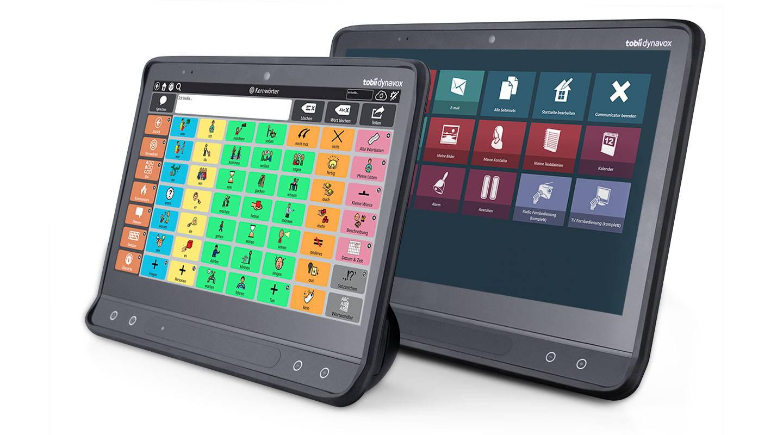 """Frontalansicht auf ein Kommunikationsgerät der I-Serie von Tobii Dynavox mit UK-App """"Snap Core First"""""""