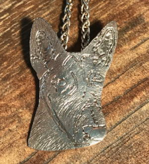 Belgian Malinois doghead pendant in sterling silver