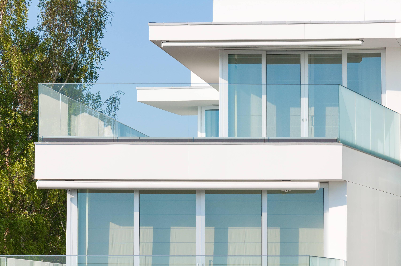 Glass railings on a balcony