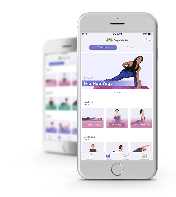 Yoga Studio App interface