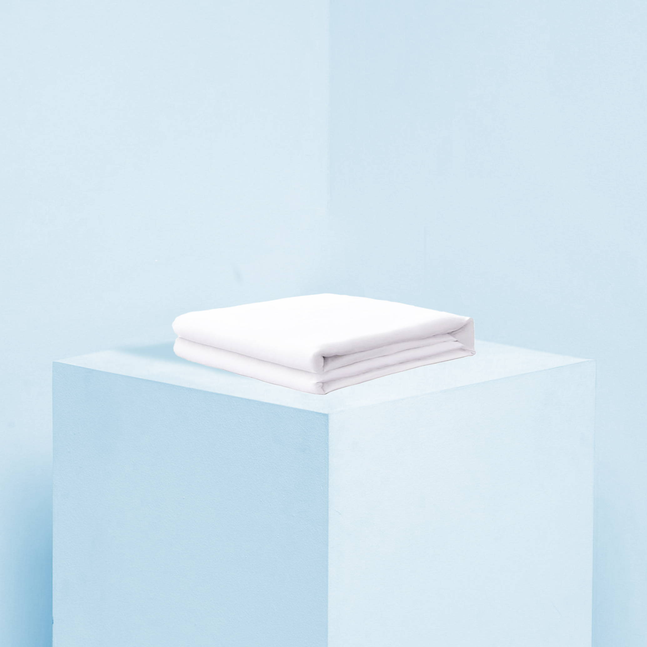 Heavenly Duvet Cover in the color white on a blue background