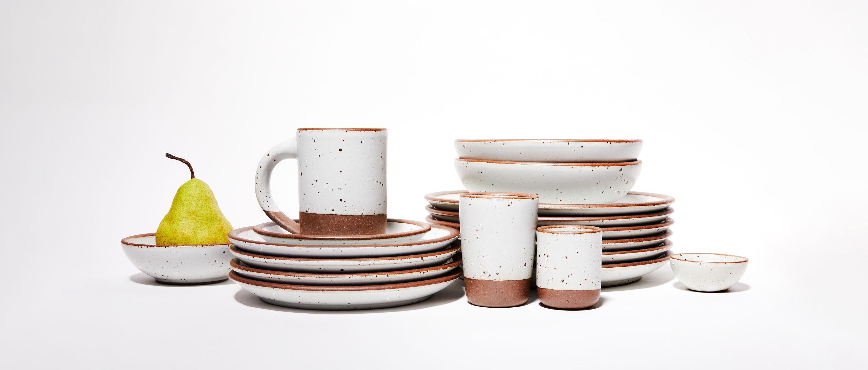 East Fork pots glazed in Eggshell white