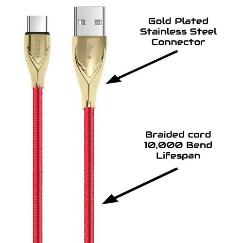 6ft Gold/Red USB-C Cable Fast Charger for LG