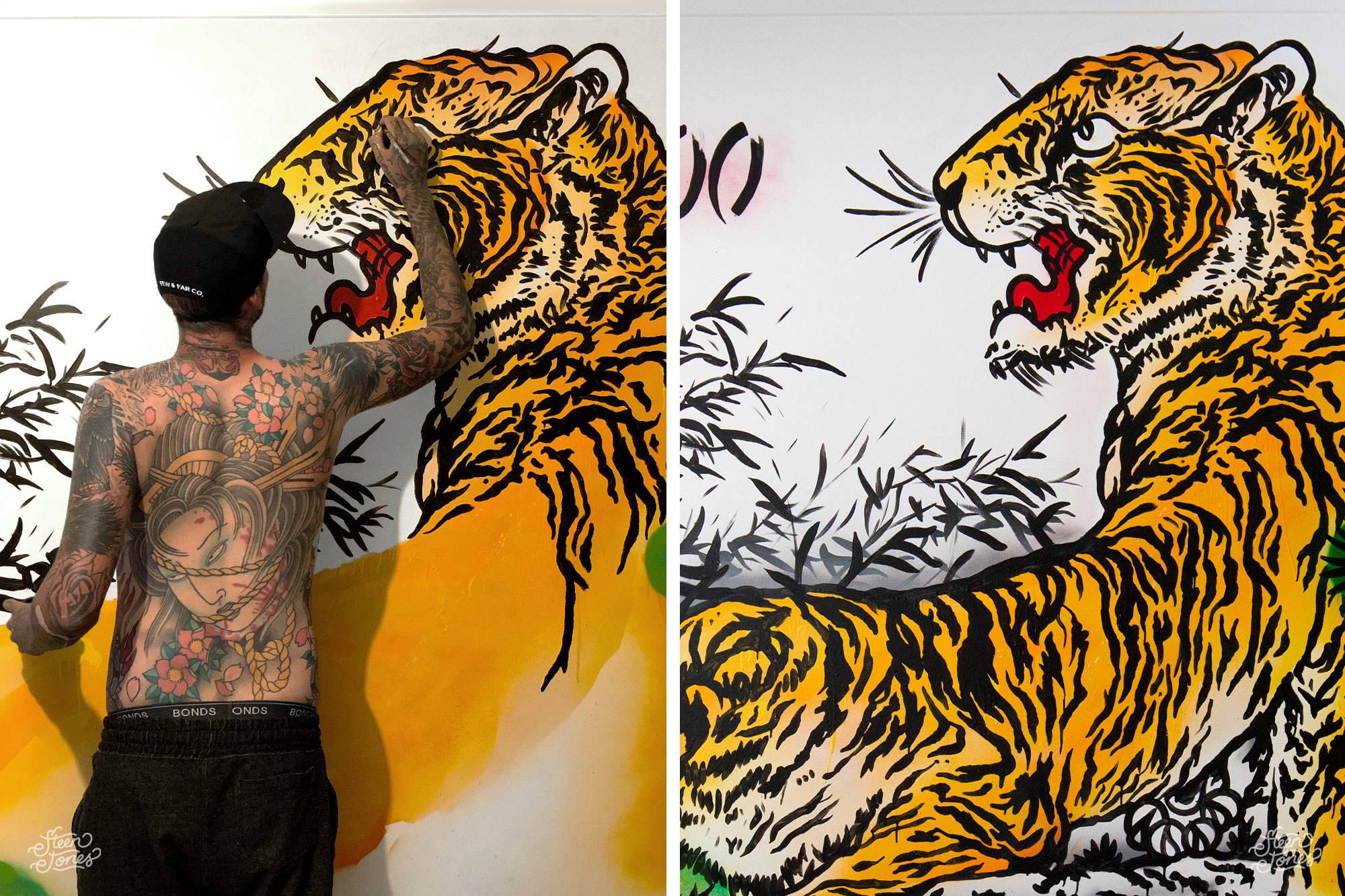 Steen Jones Tattoo Street Artist Australia Three Dice Tattoo Shop Tiger Mural