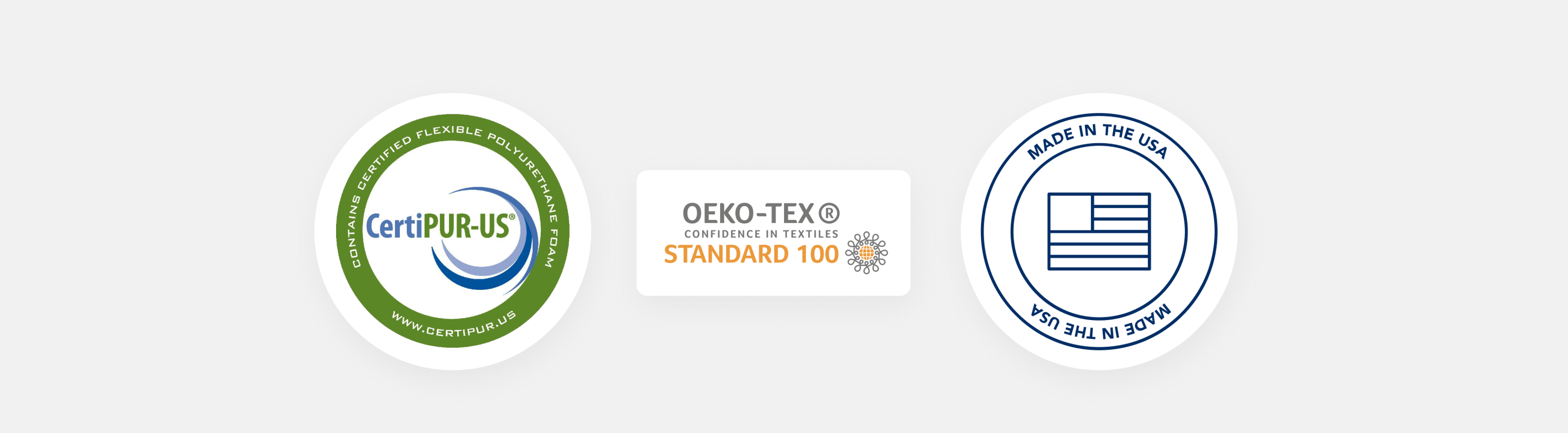 CertiPUR-US, OEKO-TEX, and Made in the USA certifications