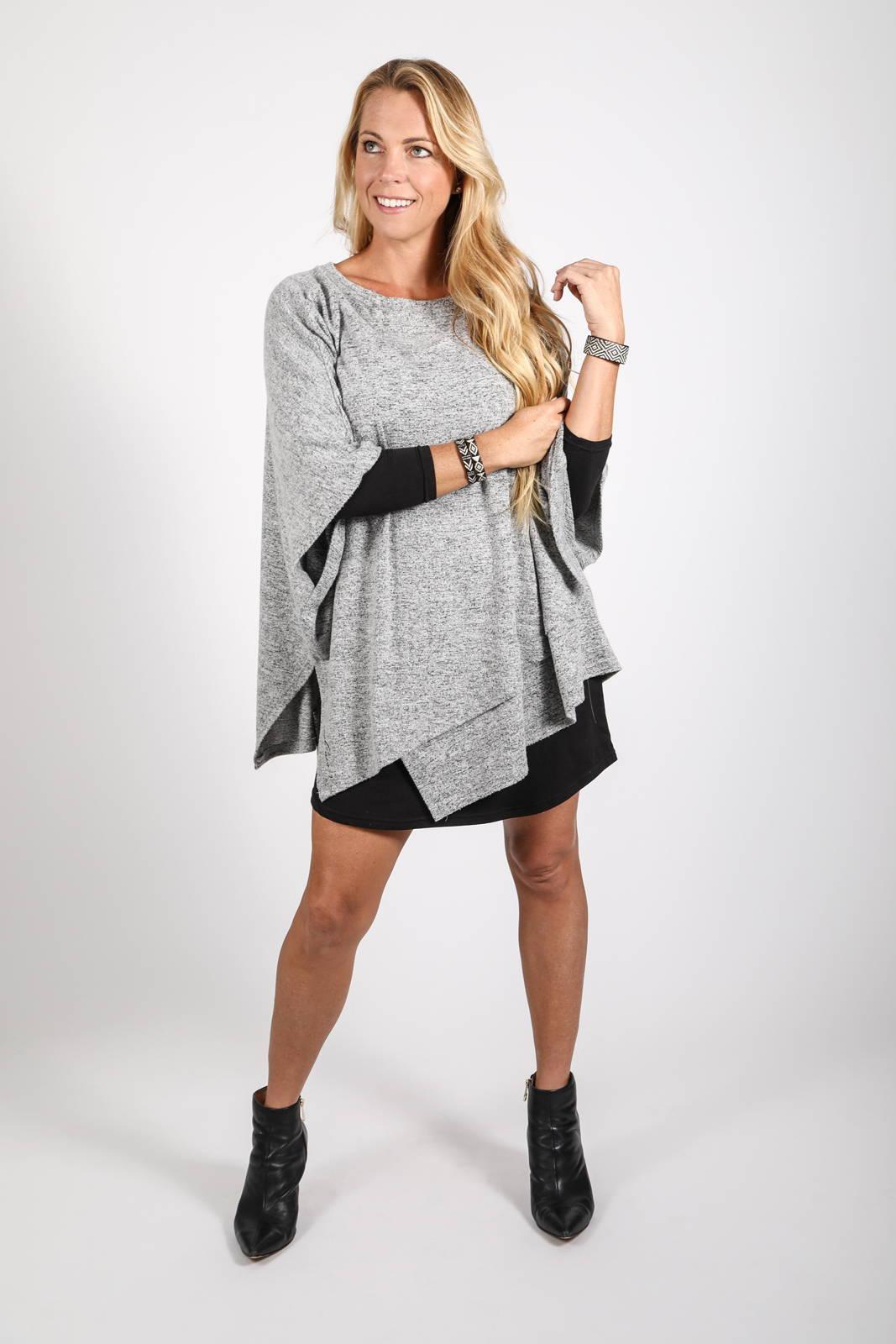 Model wearing the Ligero Wrap over the Ina Long Sleeve Dress by illuminative