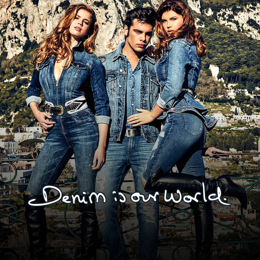 A man and two women wearing denim