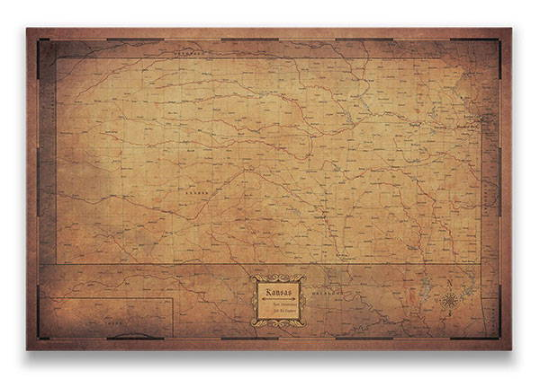 Kansas Push pin travel map golden aged