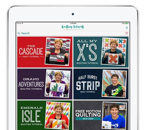 Missouri Star's Quilting Tutorials App on an iPad
