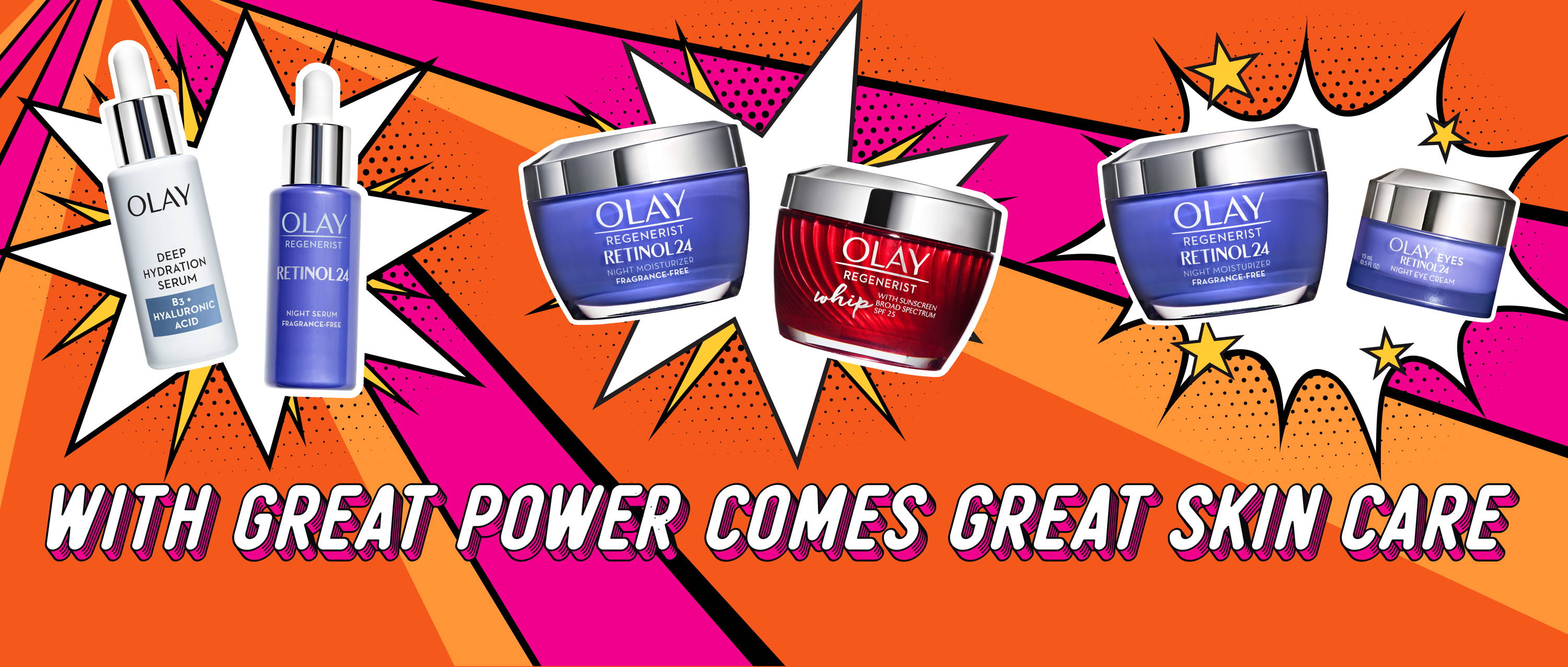 Homepage banner - Power couples campaign:  With great power comes great skin care.