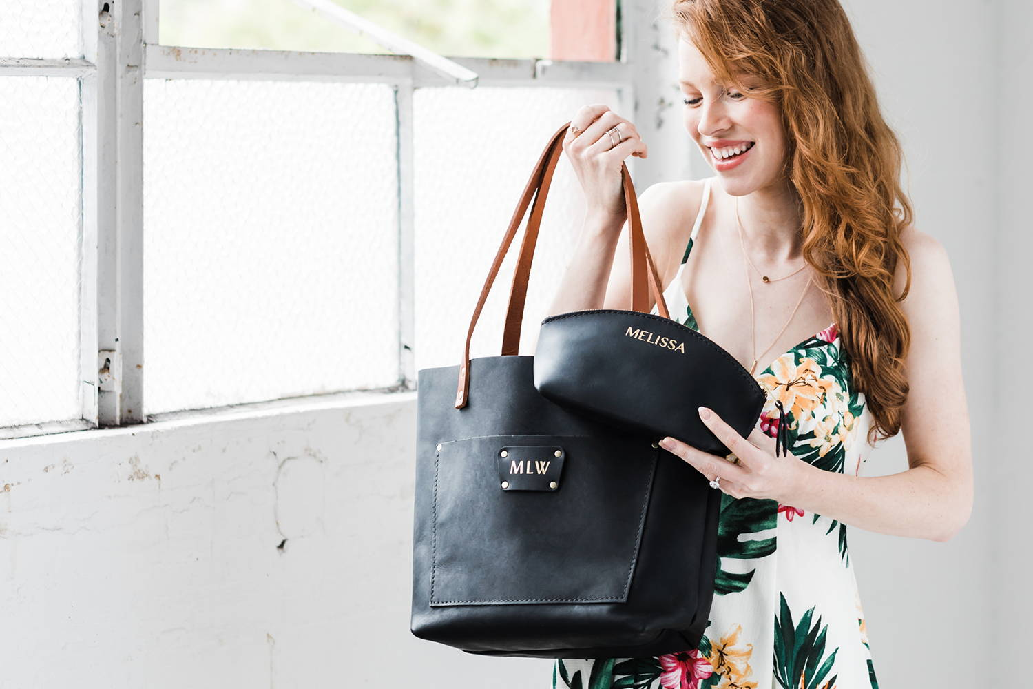 Matching personalized leather tote and makeup bag
