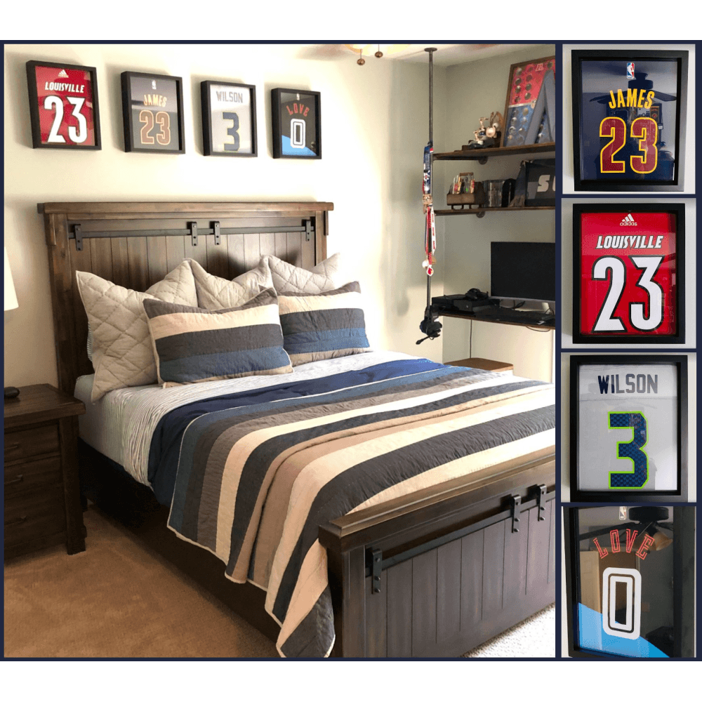 Lebron James, Russell Wilson, Kevin Love and UofL Jerseys  displayed in a 4-Pack of Shart Original T-Shirt Frames above a bed in a bedroom