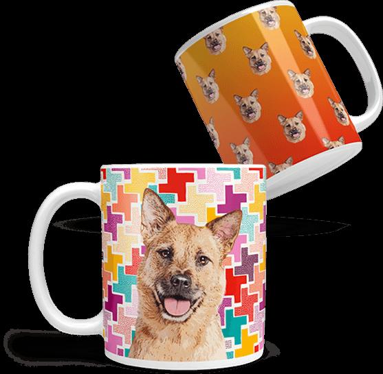 personalized dog art on coffee mug
