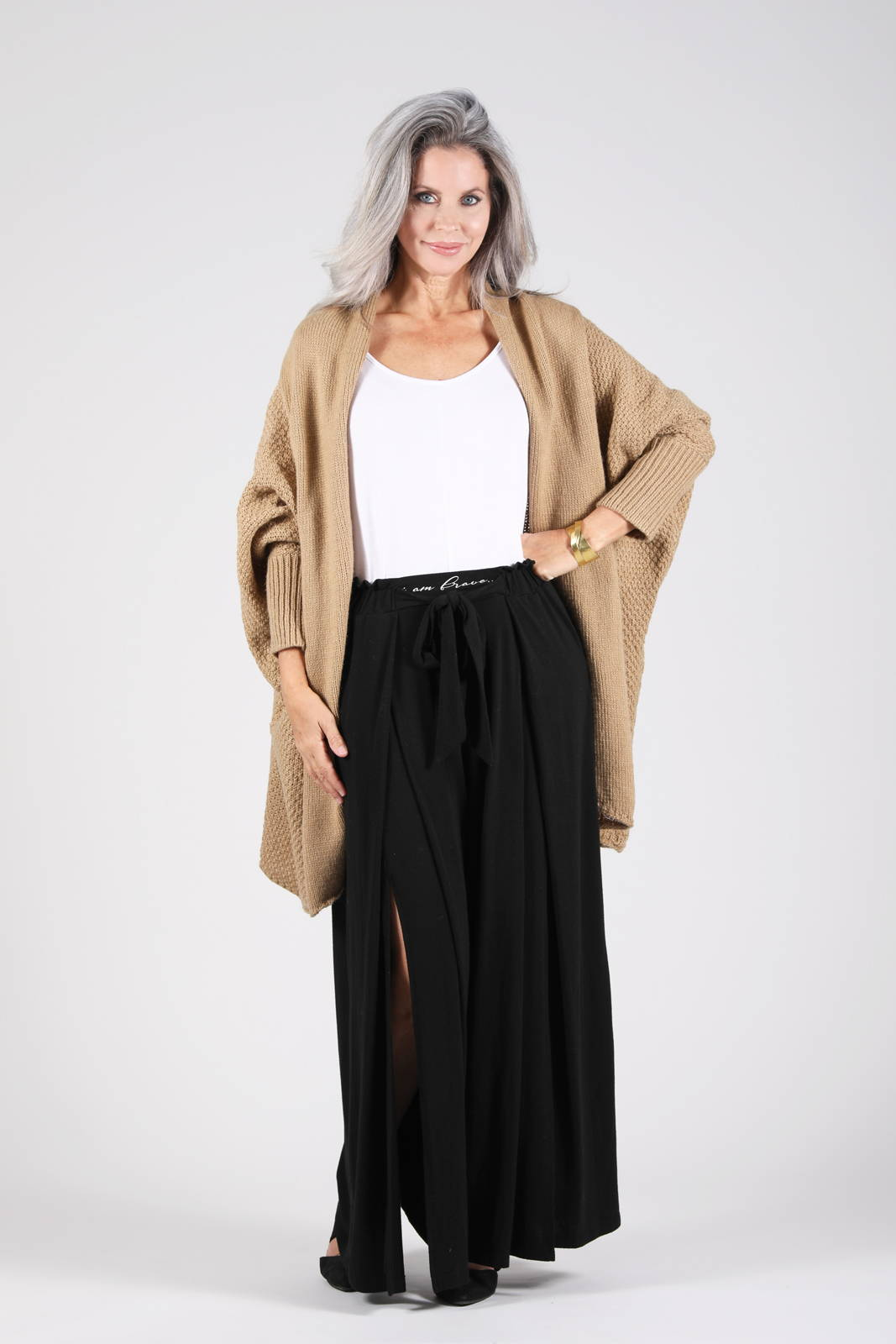 The Zeville Cocoon Cardigan in Camel with the Grian Pant