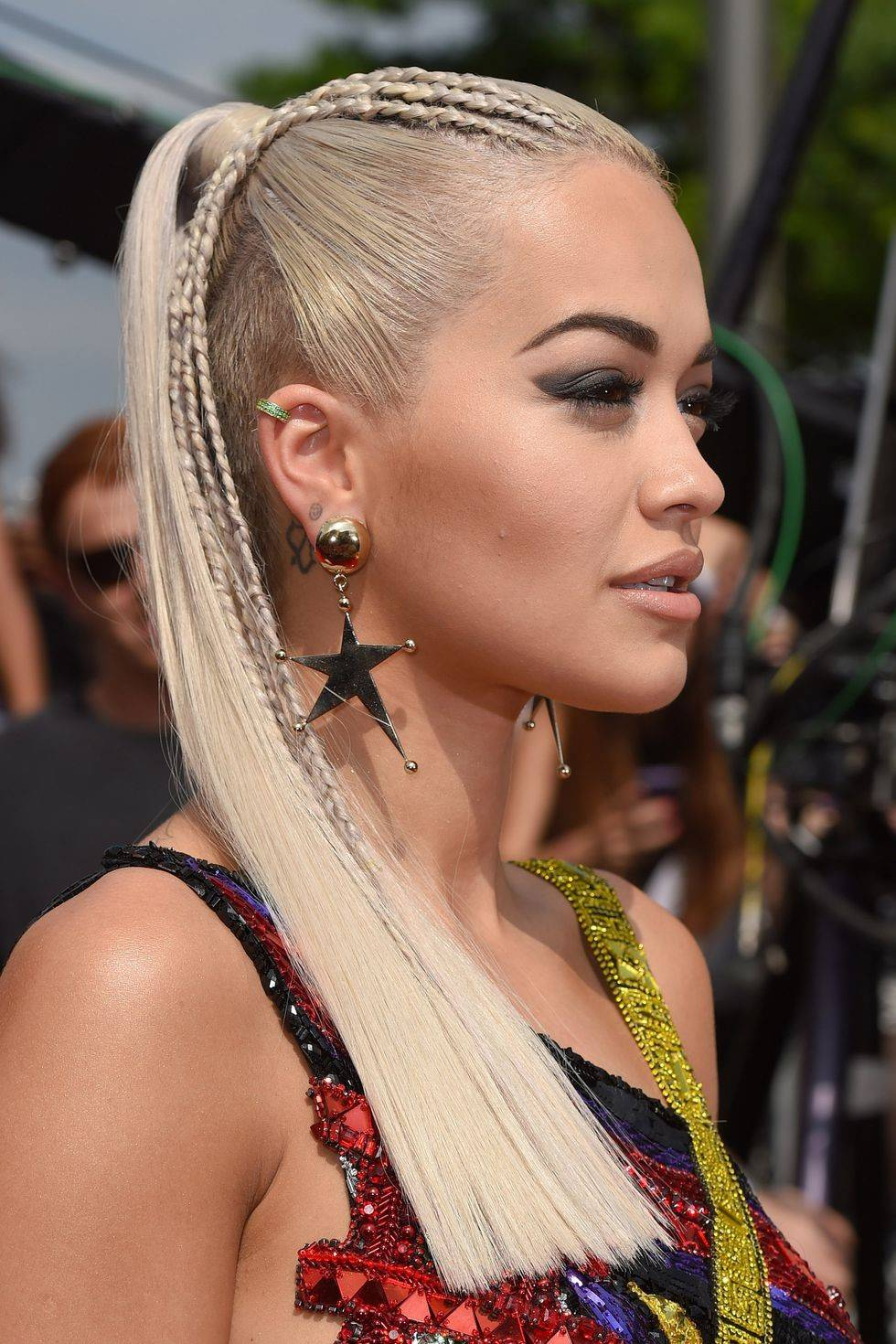 Rita Ora with a high ponytail and braids