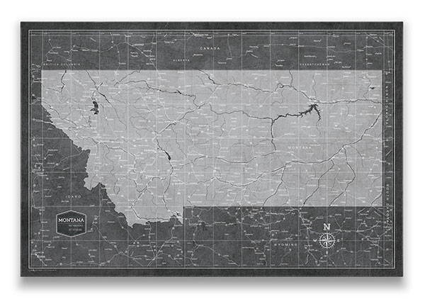 Montana Push pin travel map modern slate