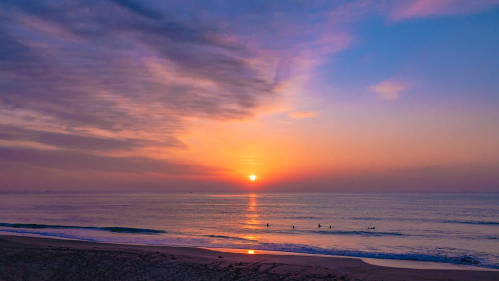 Hebara Beach in Chiba, Japan. A popular surfing destination with amazing sunrise views