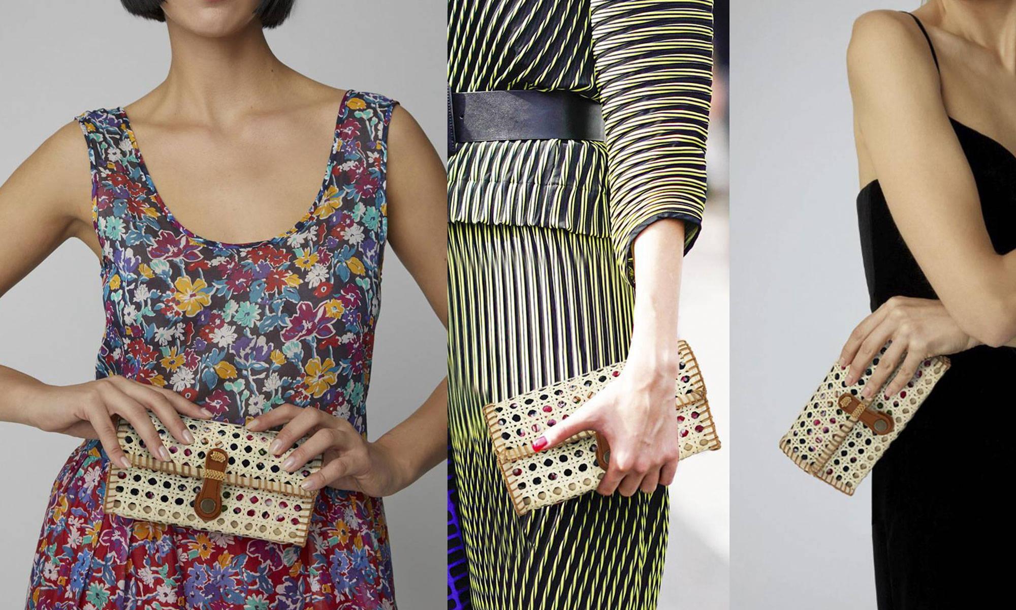Summer rattan clutch straw purse