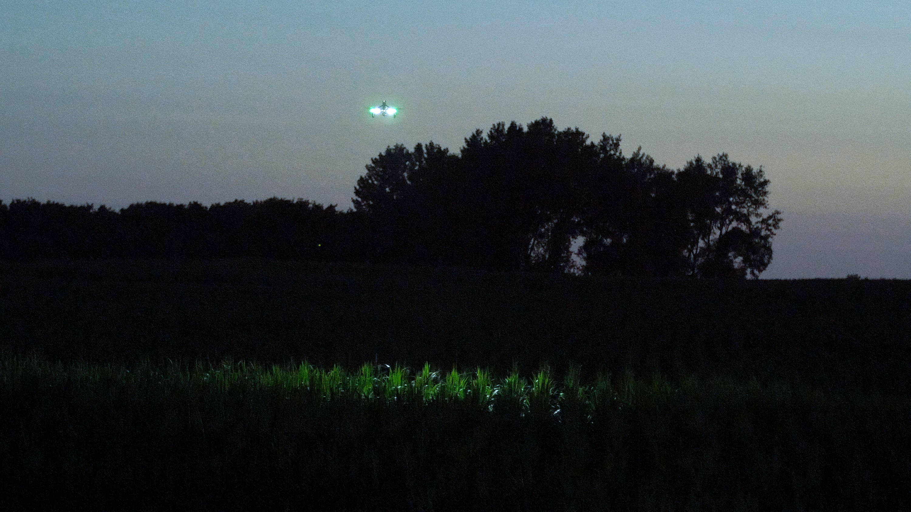 Drone with FoxFury Rugo Lights searches a corn field for a suspect fleeing on foot