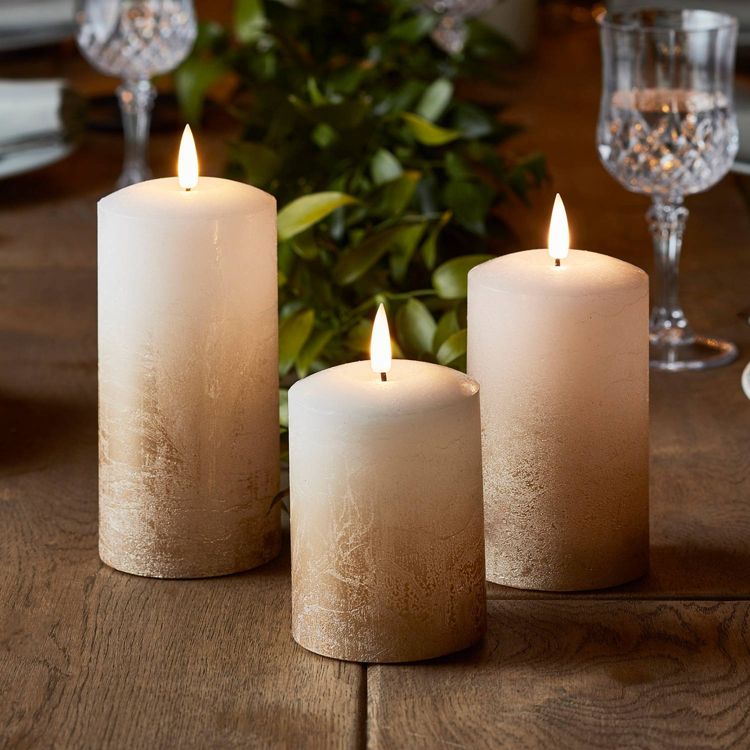 Truglow LED pillar candle with bronze ombre trio