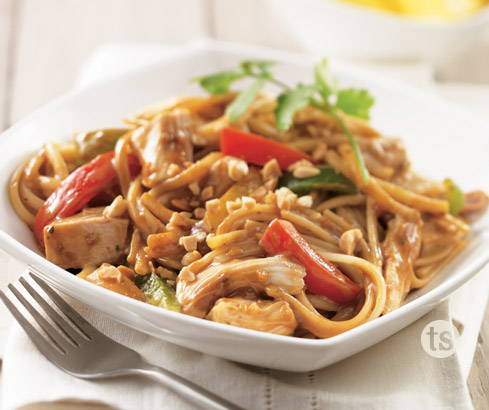 asian peanut chicken noodle bowl