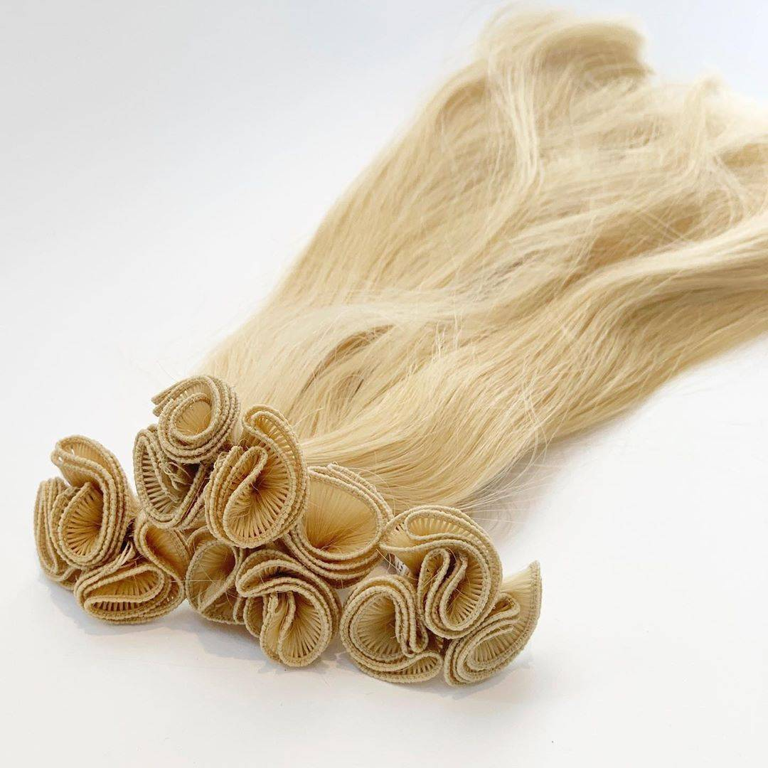 collection of 100% remy light ash color hand-tied wefts with thin and soft look