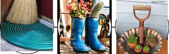 Garden hose, boots, and shovels as garden designs