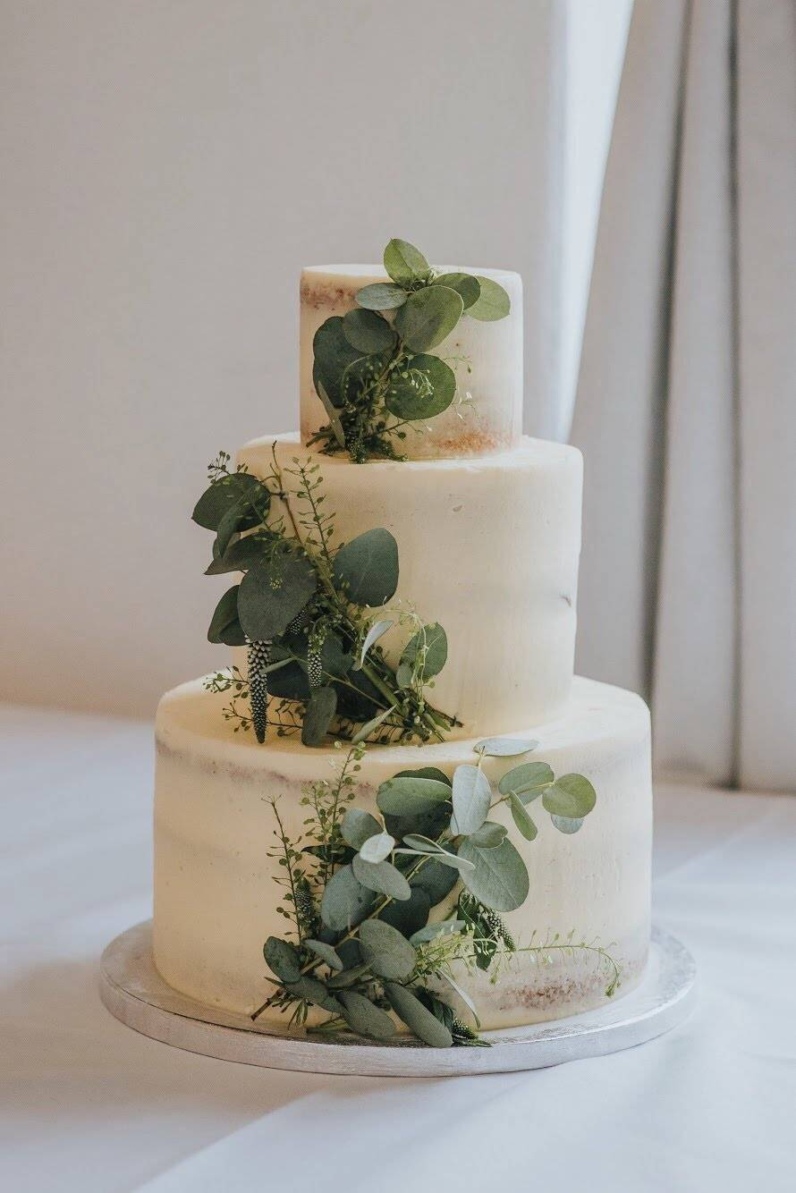 Three Tier Eucalyptus Wedding Cake
