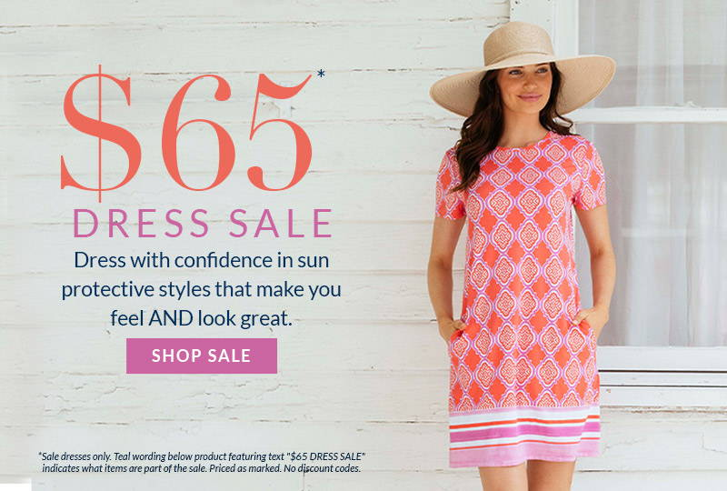 $65 Dress Sale. Dress with confidence in sun protective styles that make you feel AND look great. Priced as marked. No codes applicable. Shop sale now. Woman wearing Coral Geo Cap Sleeve Swing Shift Dress.