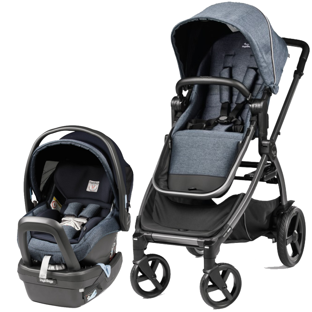 The AGIO blue and black baby stroller and car seat, Kidsland
