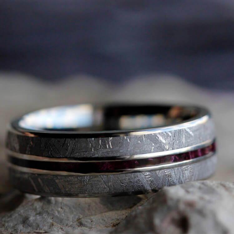 METEORITE WEDDING BAND WITH THIN PURPLE BOX ELDER PINSTRIPE
