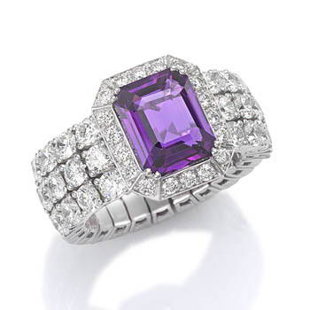 Purple gem and diamond Xpandable ring